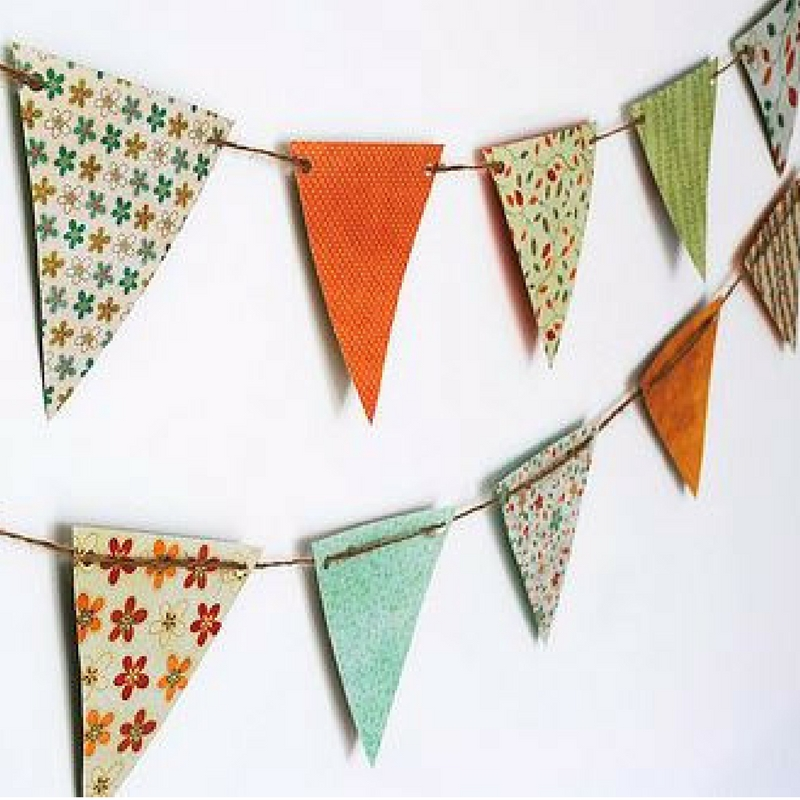 bunting made from recycled wrapping paper
