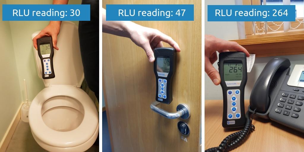 Toilet, door handle and phone RLU readings