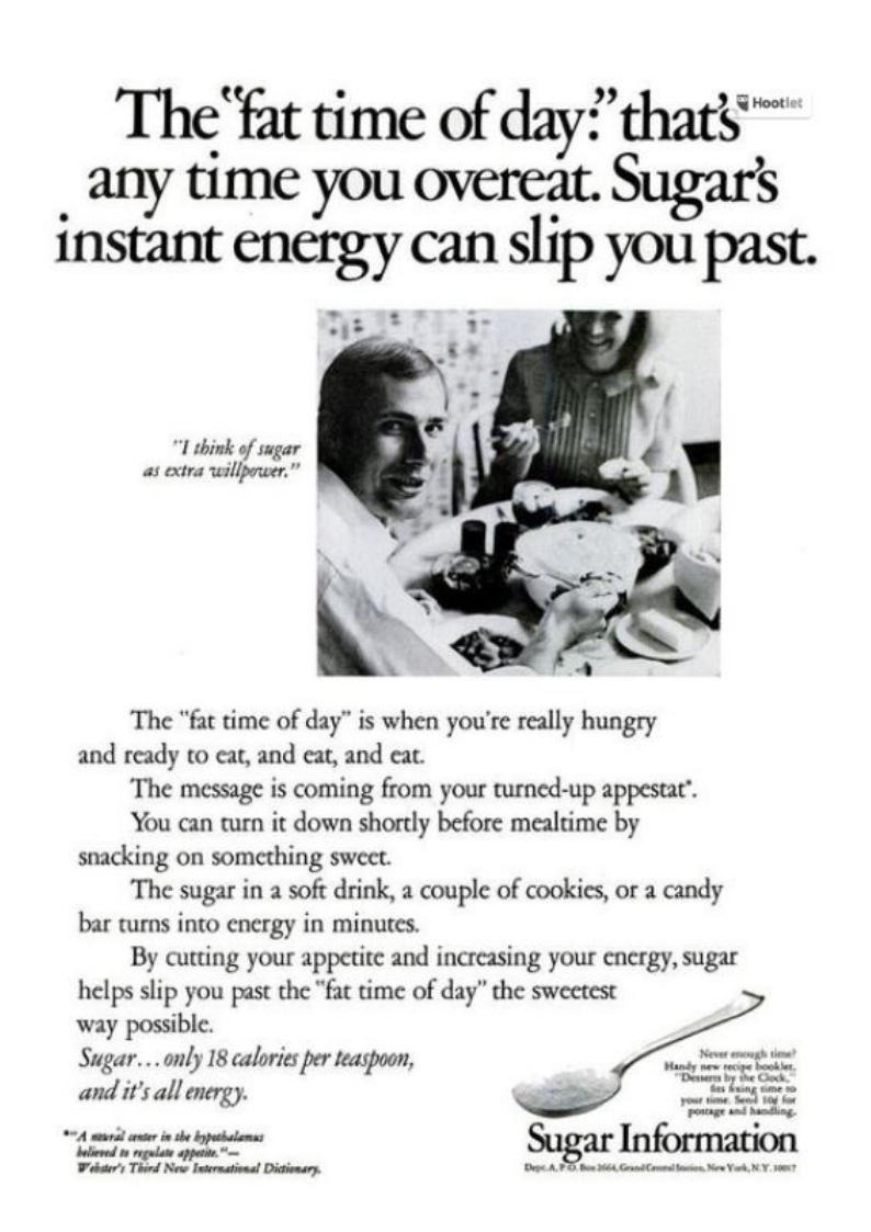 Advert for sugar as a slimming aid