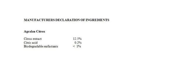 Agralan Citrox manufacturers declaration of ingredients