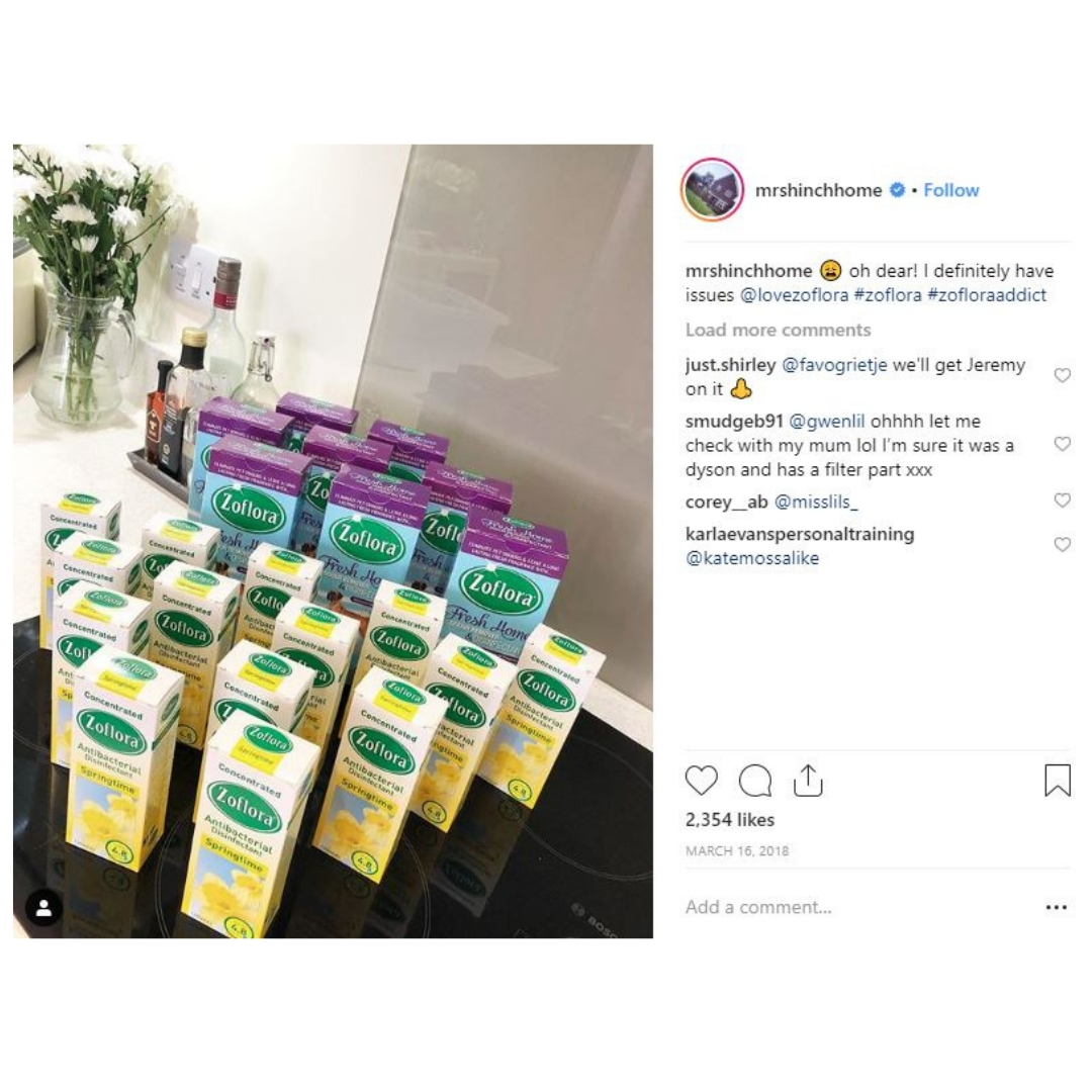 Mrs Hinch instagram post - zoflora disinfectant
